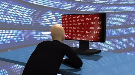 dividir : Computer animation representing a 3d-man  observing the share market on a desktop