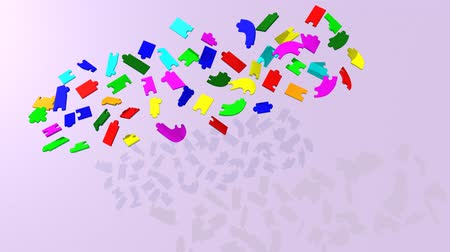 кусок : 3d puzzle pieces forming the title teambuilding against a purple background