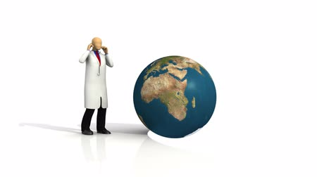 genişleme : Animation of a 3d-doctor with a globe against white background Stok Video