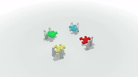 hűség : Animation representing a group of 3d men doing a clourful puzzle against white background