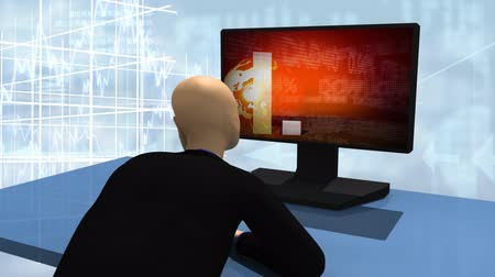 spojrzenie : Animated graphics presenting 3d man looking at declined share market on a desktop isolated