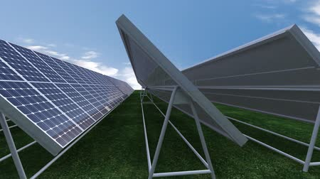 fotovoltaica : Animation presenting solar panels against blue sky on a grassland
