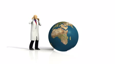 kopya : Computer animation showing a 3d-man with a globe and a stethoscope against white background