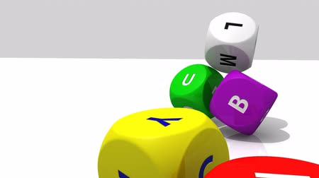 dobókocka : 3D rolling multicolour dices against a white background