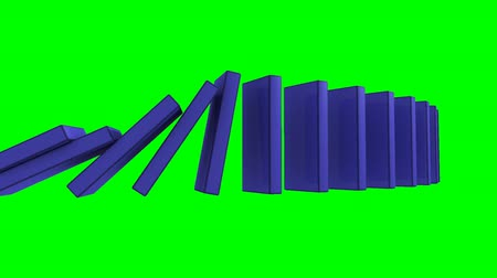 hatály : 3D blue dominos falling against a green background
