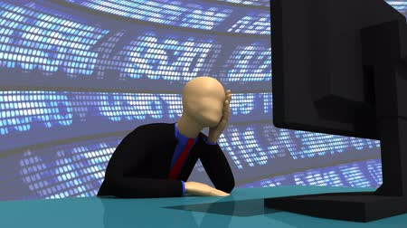 suit and tie : Animation presenting a 3d man using his computer at work Stock Footage