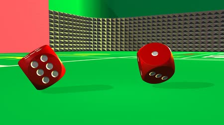 roll : Dice rolling againt a casino background Stock Footage