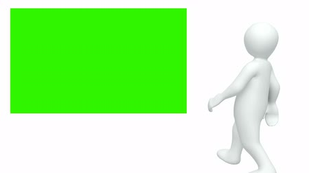praca zespołowa : Computer animated graphics showing 3d man looking at a green picture against white background Wideo