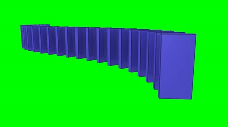 yılan : 3D blue dominos standing against a green background Stok Video