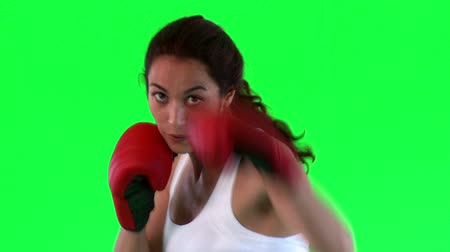 sztuki walki : Athletic young woman boxing over green background
