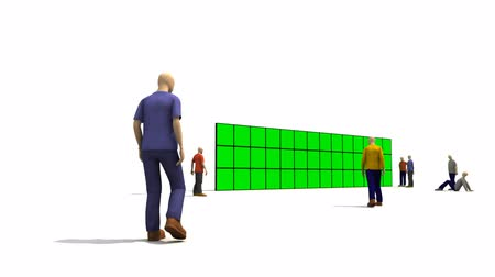 klucz : 3D men in front of a green screens against a white background Wideo