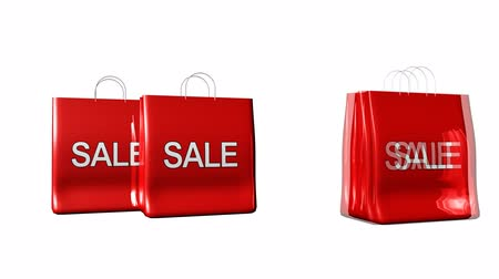 satmak : 3D bags announcing sales Stok Video