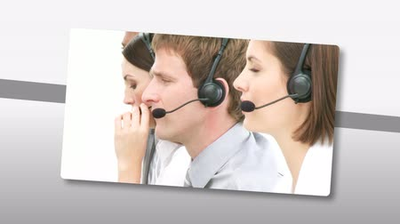 desteklemek : Animation presenting multi-etnic customer service representatives working in a call center