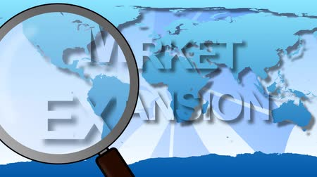 zvětšit : 3d Global Market Animation with a magnifying glass running over a world map highlighting how markets in the world are now more interconnected than ever before. This is a good concept for many business themes.