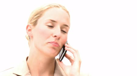 kanapa : Pretty woman on phone against a white background