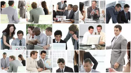 praca : Collage footage of Business team at work Wideo