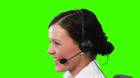 foglalkoztatás : Green screen footage of a woman on a helpdesk