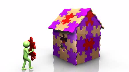 investimento : 3D man achieving the building of his house against a white background