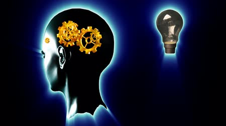 innováció : Animation of a human head with gears and cogs in motion and a lightbulb flashing on and off. Concept of thinking a brilliant idea