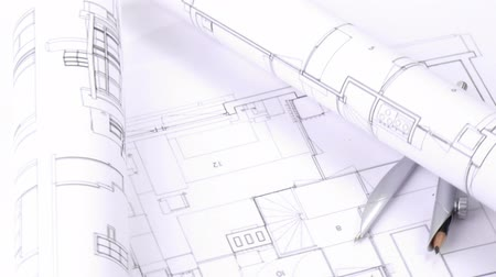 blueprint : Close-up of a high view of plans and blueprints turning in high definition