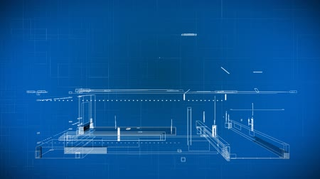 impressão digital : Wire 3d Building Blueprints showing a building taking shape