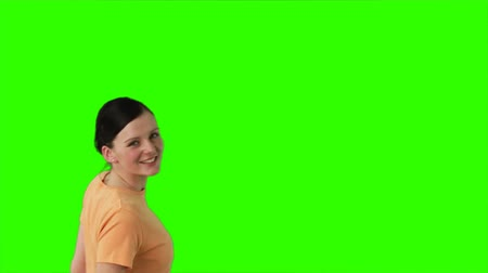tizenéves lányok : Green Screen Footage of a very happy woman with shopping bags Stock mozgókép