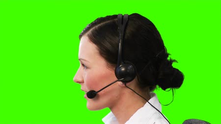 clerical : Chroma Key footage of a woman on a Headset