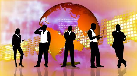 разнообразие : Animation of a Stock market background with business people silhouettes standing