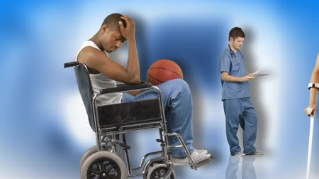 kule : Animation of a young man in hospital in a wheelchair, with crutches and doing yoga. Concept of recovery