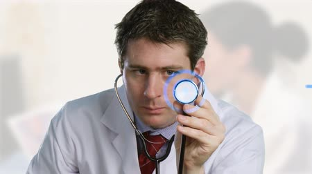 ses : Young Doctor listening to  a stethoscope with 3d animation in background