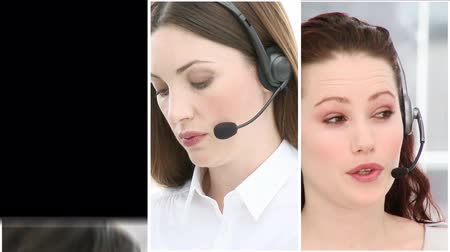 képviselő : Working in a business call centre HD format  Stock mozgókép