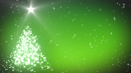 bordas : Merry Christmas animation with decorated tree and stars against green colours Vídeos