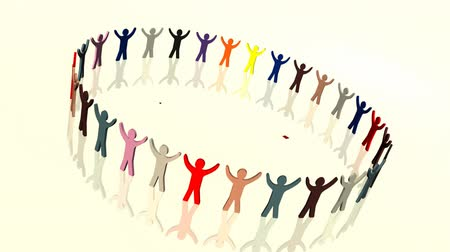 vara : Teamwork in Business concpet animation with many diiferent coloured people holding hands