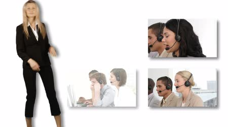 телемаркетинг : Collage of HDvideo footage of a business call centre HD format  Стоковые видеозаписи