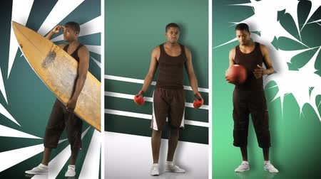juventude : Animation of an African boy doing different sports in high definition: surfing, boxing and basketball