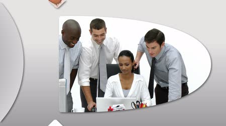innovation : Montage presenting confident business people at work in high definition