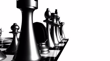 xadrez : Animation of chess set in motion. Concept of fight