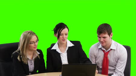 пять : Green Screen Footage of teamwork in Business