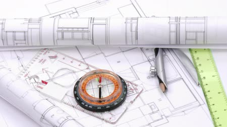 estruturas : Close-up of plans and design tools turning in high definition Stock Footage