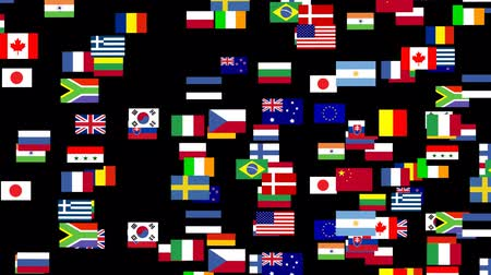 egyesült : 3d Animation of flags of the world 2 Stock mozgókép