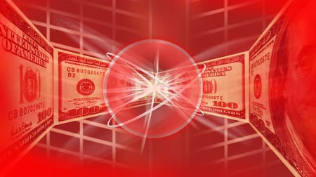 wealth : Dollars in a red background appearing to the camera in a line Stock Footage