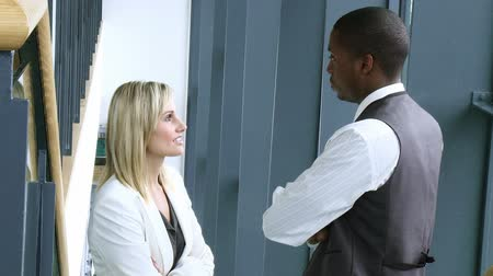 afro americana : Blonde businesswoman and Afro-American businessman talking in workplace footage in high definition