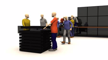 munkacsoport : 3D men presenting business people at work in high defintion