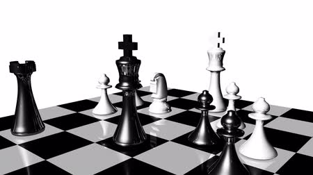 xadrez : Animation of chess set in motion. Game over. Concept of fight