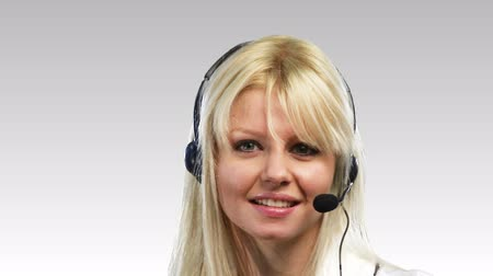 titkár : Beautiful Blonde Caucasian Woman talking on a headset 4
