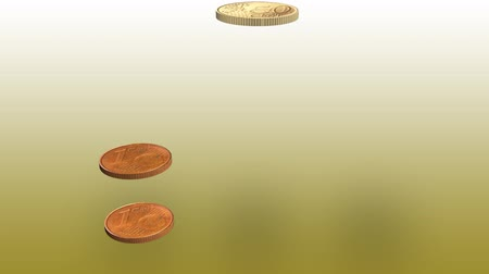 doubloon : 3d Euro coins falling on top of each other Stock Footage