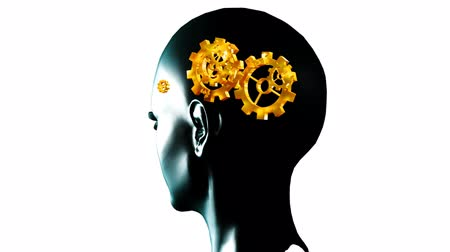science background : Animation of a human head with gears and cogs in motion. Concept of thinking