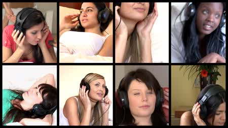 koppintás : Stock animation of diverse women listening music at home