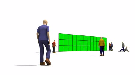 verde : 3D characters looking at a green screen against a white background Vídeos