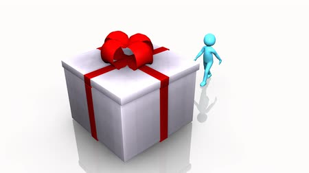 подарок : Curious 3D man opening a gift box against a white background Стоковые видеозаписи